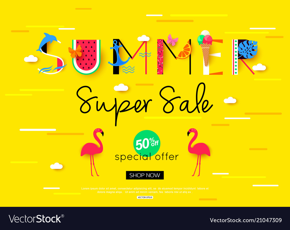 Colorful summer sale banner with red flamingo bird