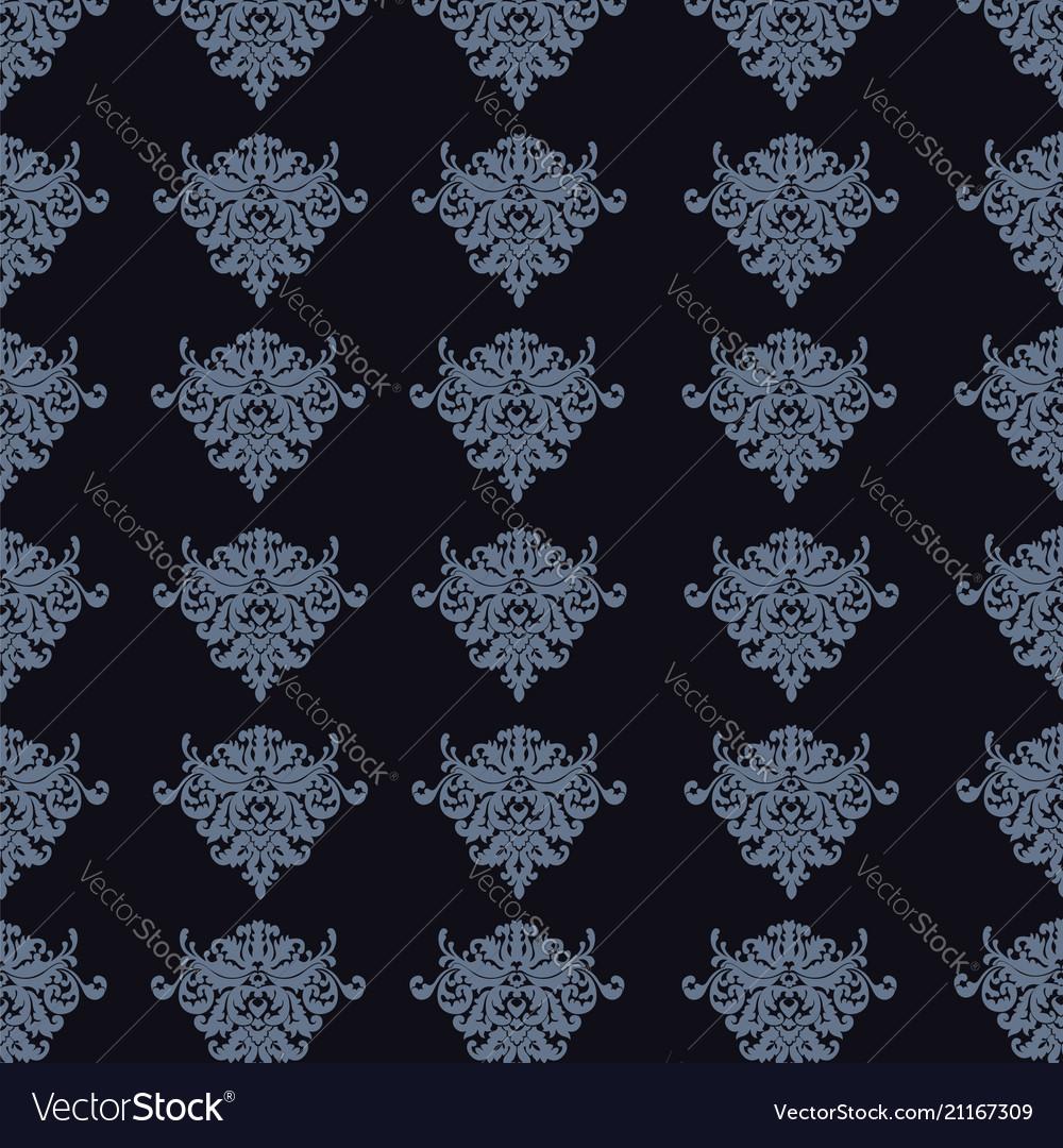 Elegant blue seamless damask background