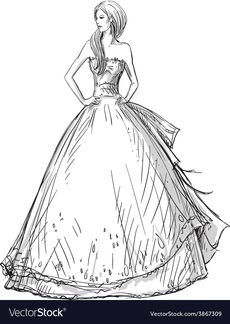 Девушка в платье картинки в полный рост карандашом