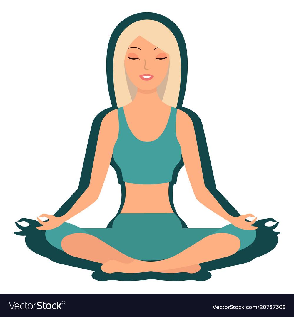 Girl enjoying yoga cartoon character