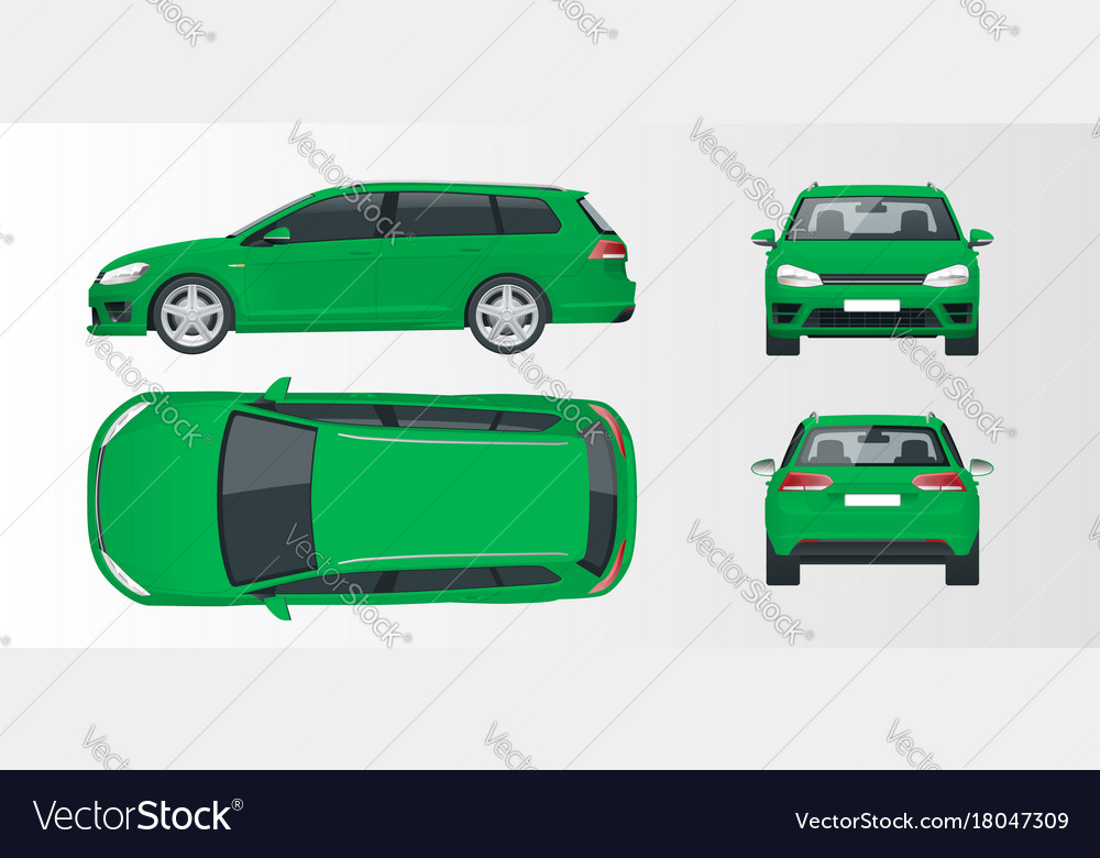 Green hatchback car compact hybrid vehicle