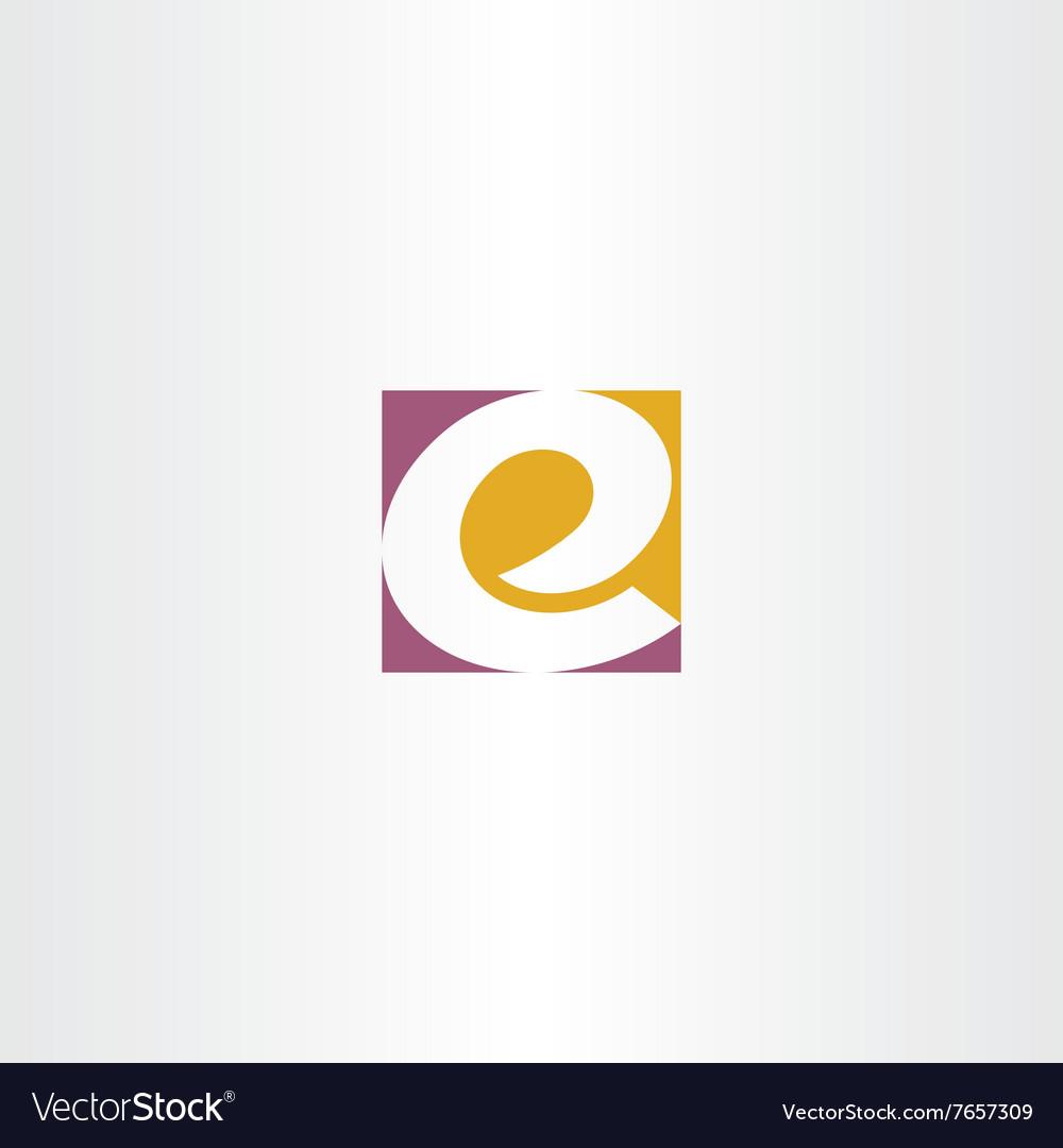 Letter e logo e purple yellow sign icon vector image