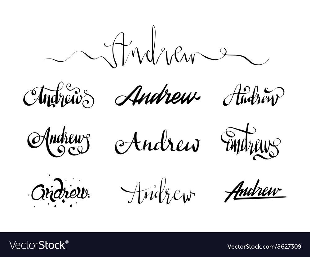 Personal Name Tattoo Andrew Royalty Free Vector Image