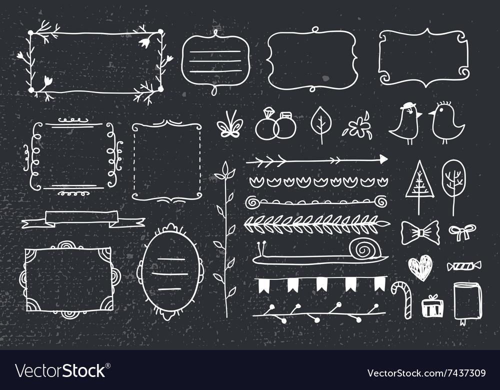 Set of hand drawn doodle frames dividers vector image
