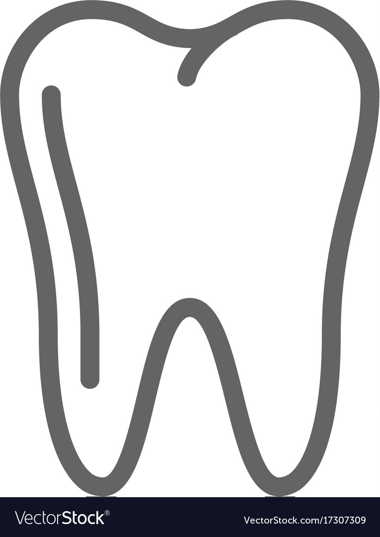 Simple tooth line icon symbol and sign