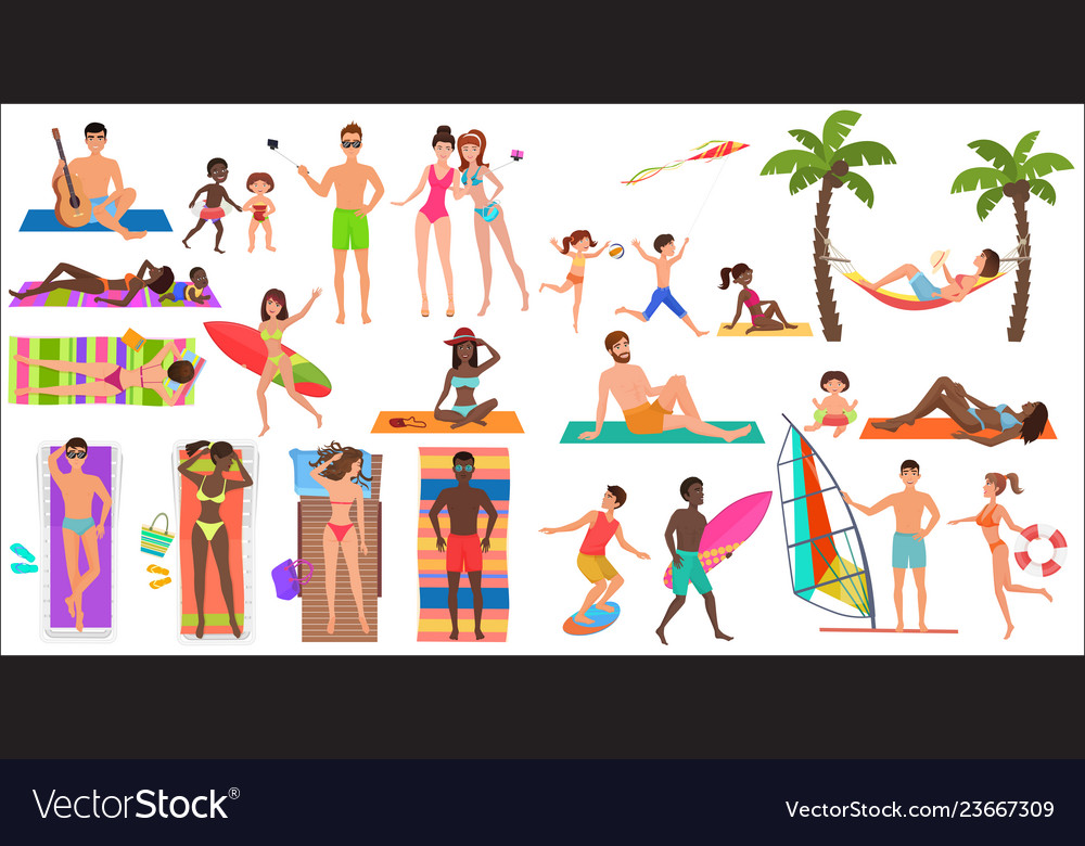 Summer beach cartoon relaxing people activities