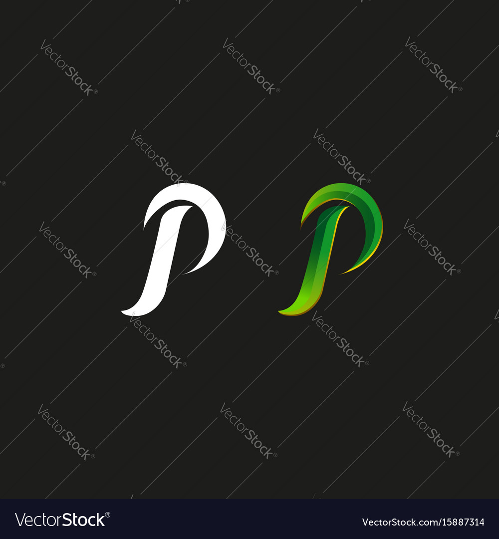 Capital letter p logo green gradient style