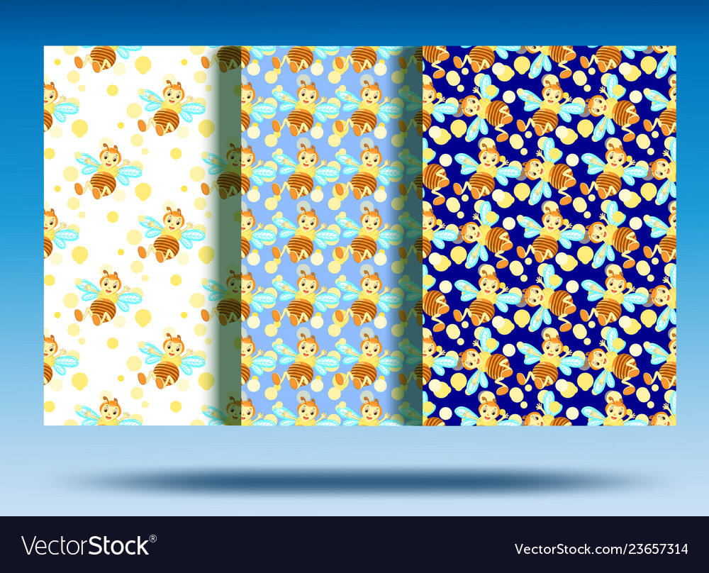 Color background bee pattern set