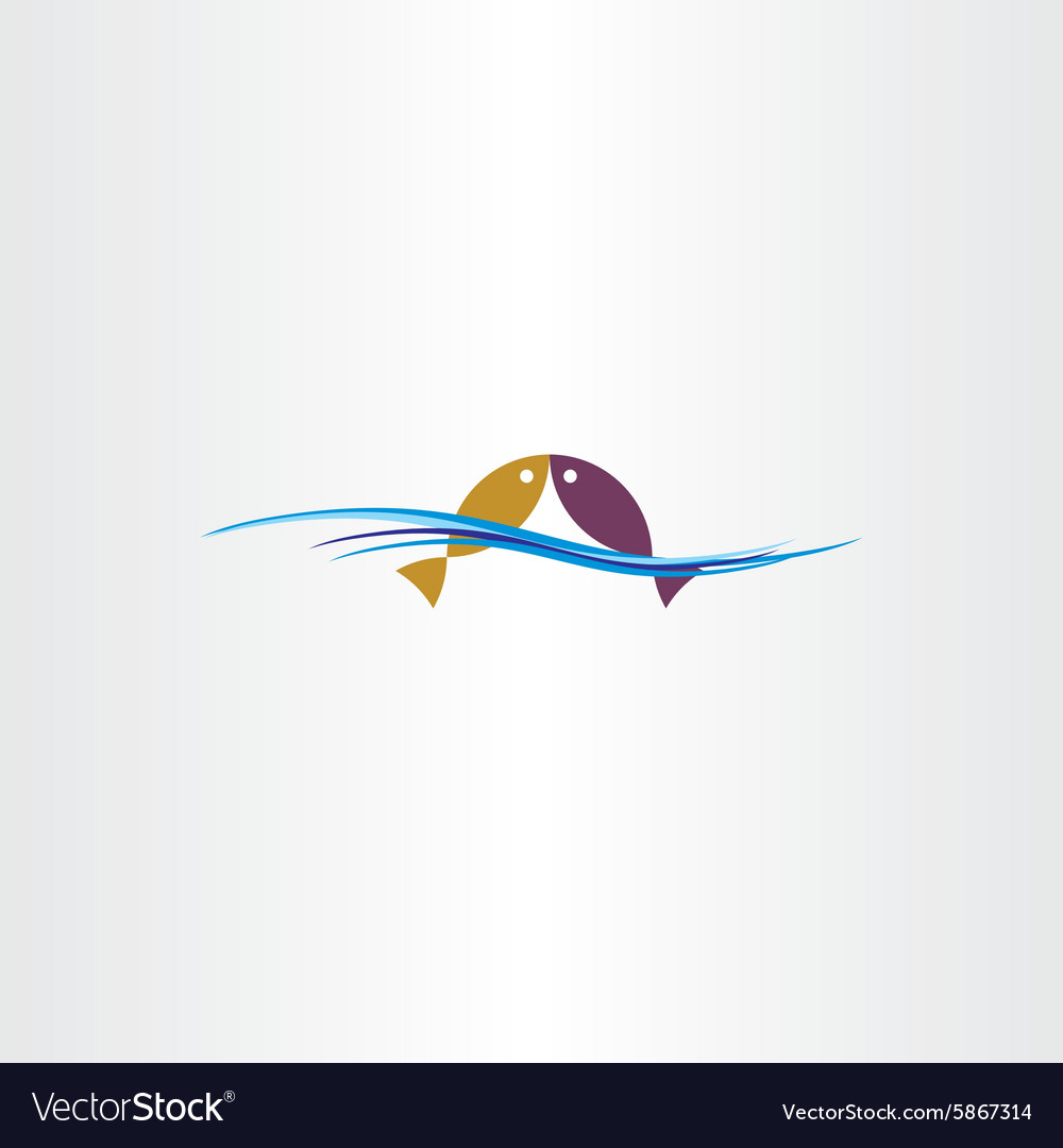 Fish in water logo sign design element