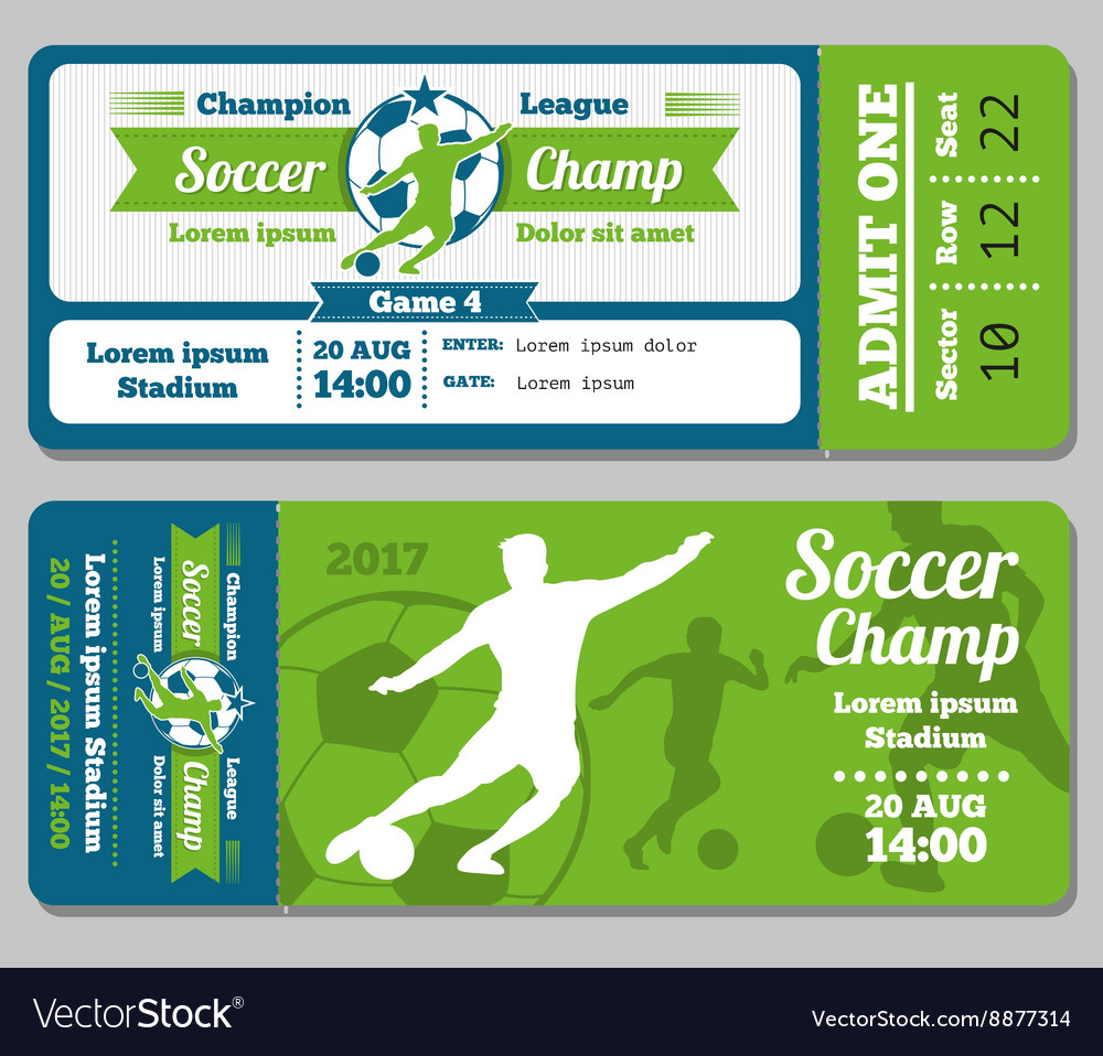 Football soccer ticket template