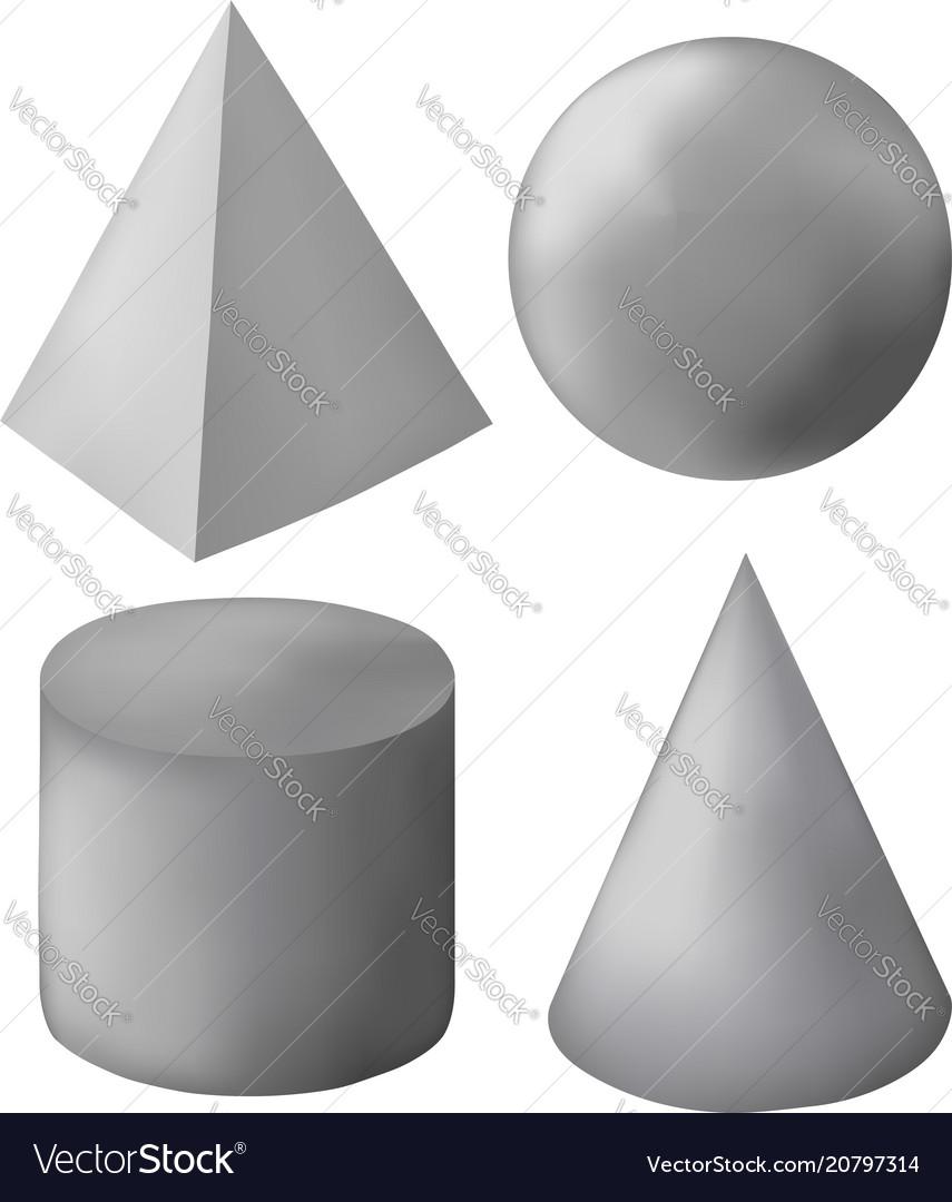 Gray 3d geometric figures
