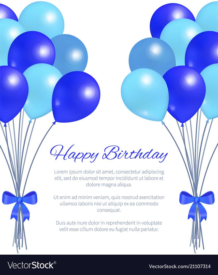 Happy Birthday Greeting Card Balloons Big Bundle Vector Image