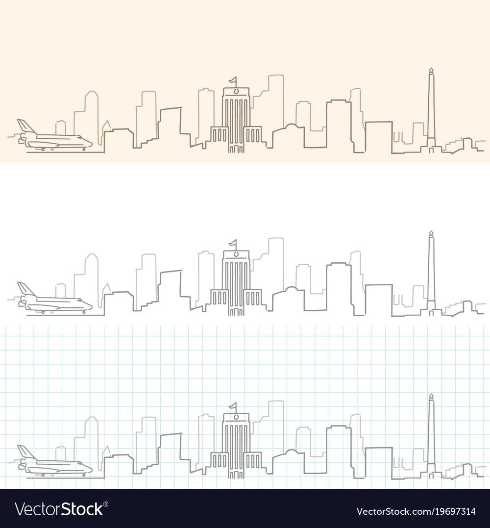 Houston hand drawn skyline