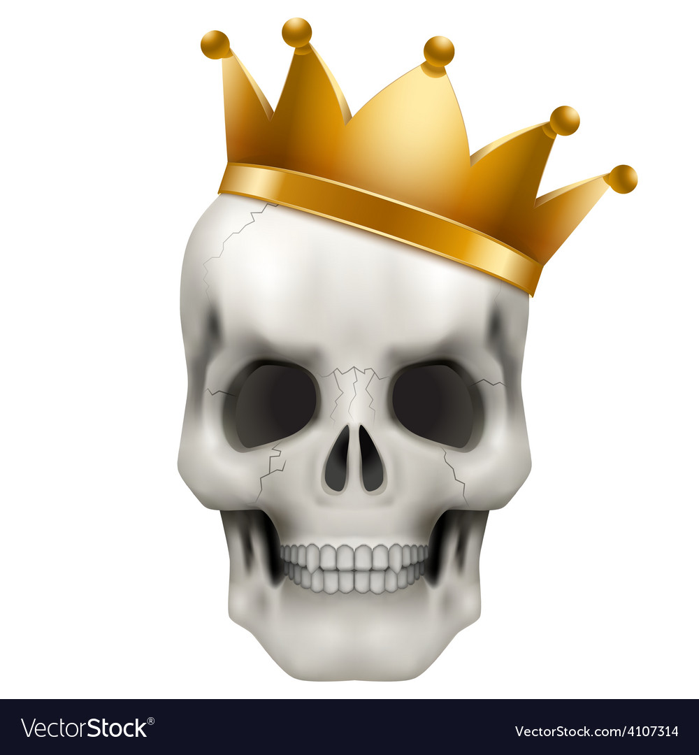 Human skull with king golden crown vector image