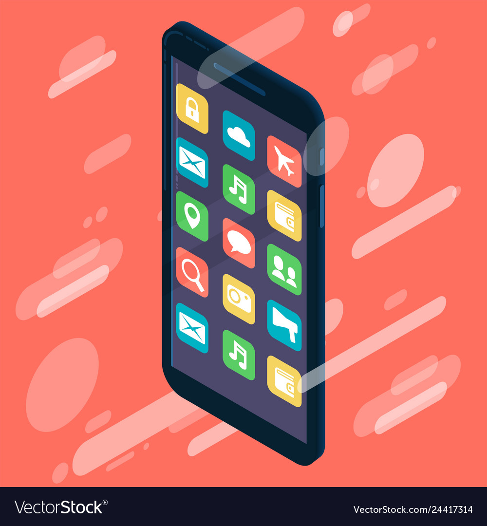 Isometric design smartphone device icon with