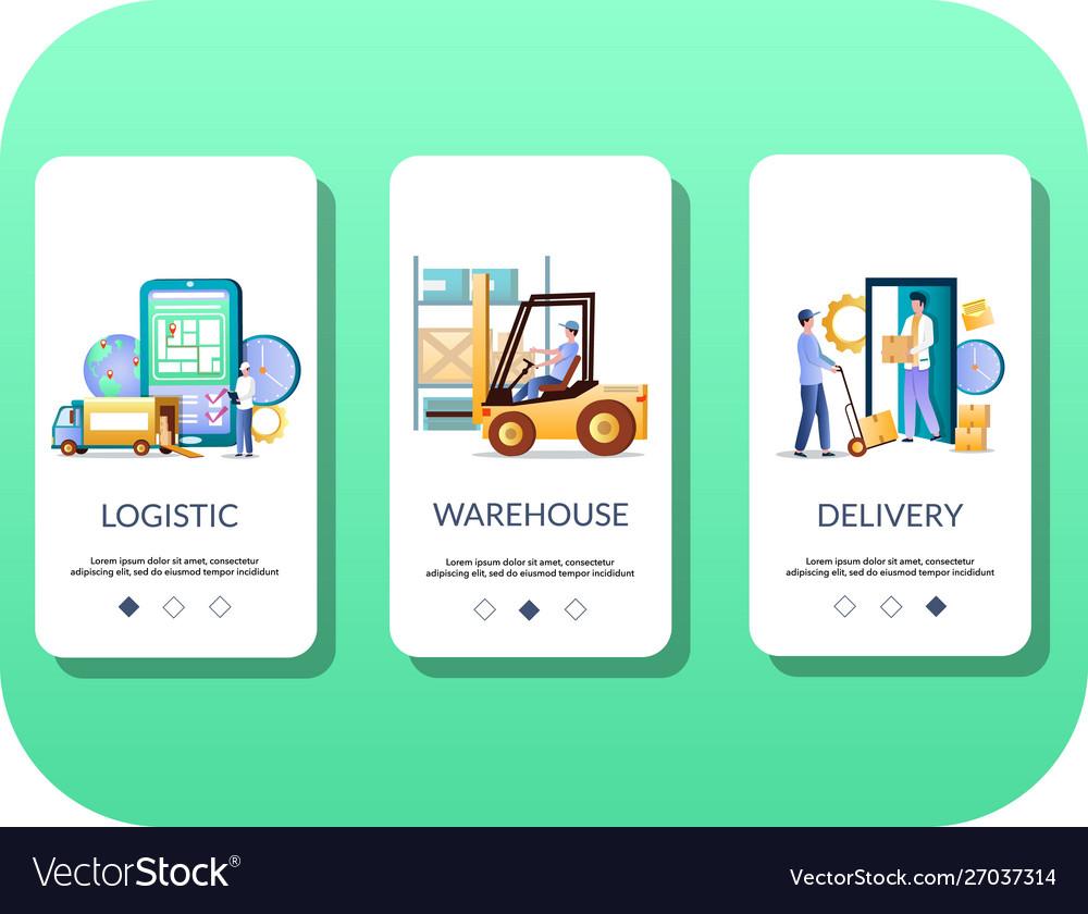 Logistics mobile app onboarding screens