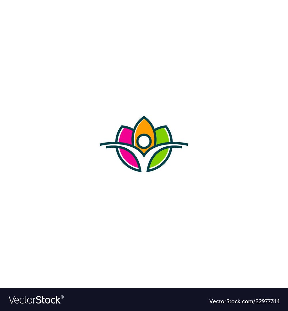 Lotus flower beauty health yoga logo