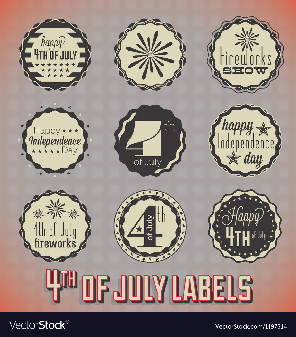 Retro Fourth of July Labels and Icons