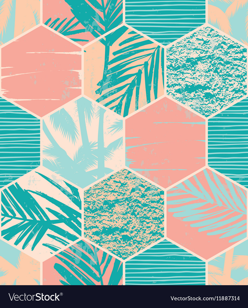 Seamless exotic pattern with palm leaves on
