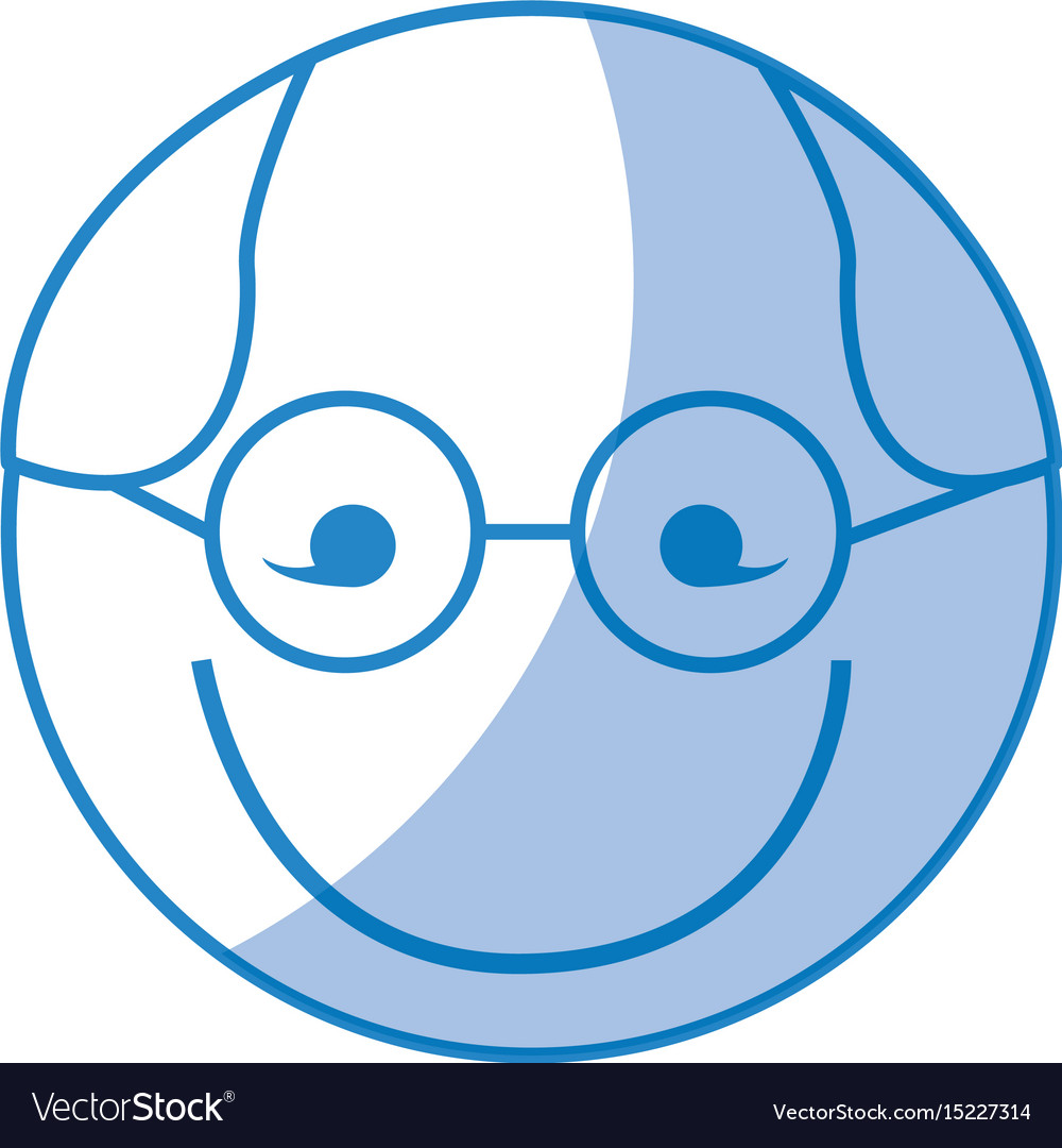 Shadow round glasses man face cartoon