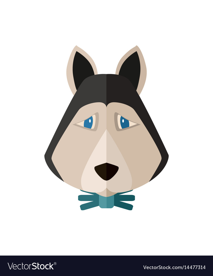 Siberian husky head icon in flat design