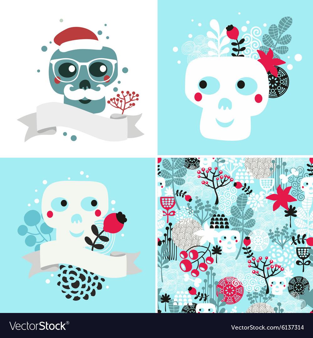 Winter skulls set