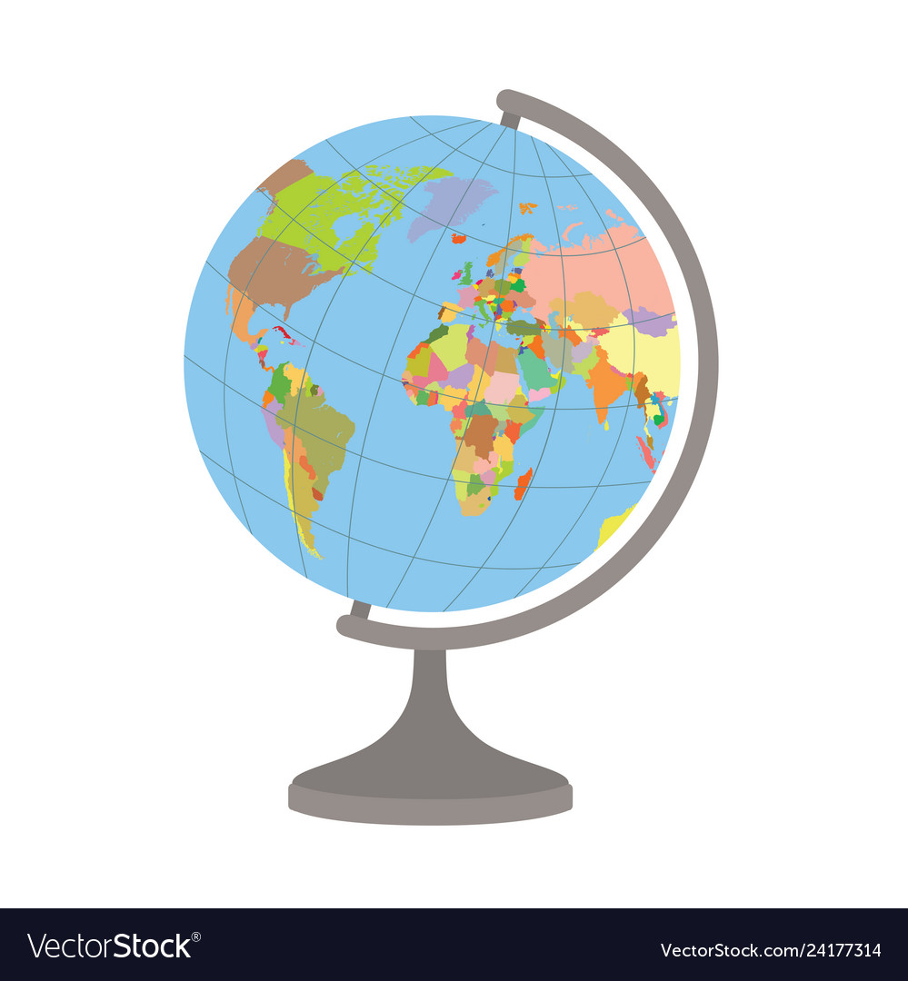 World globe on a stand political map world
