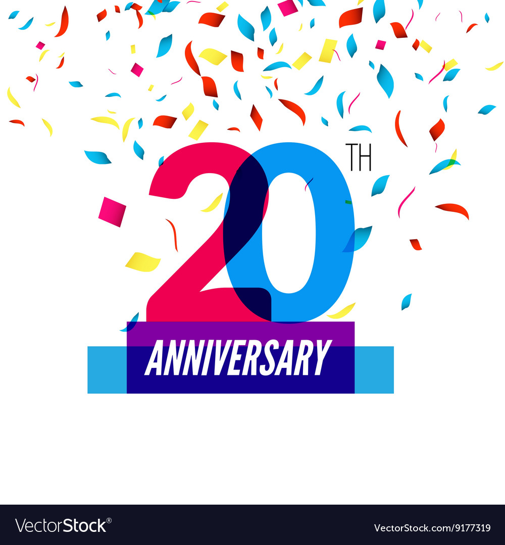 Anniversary design 20th icon anniversary vector image