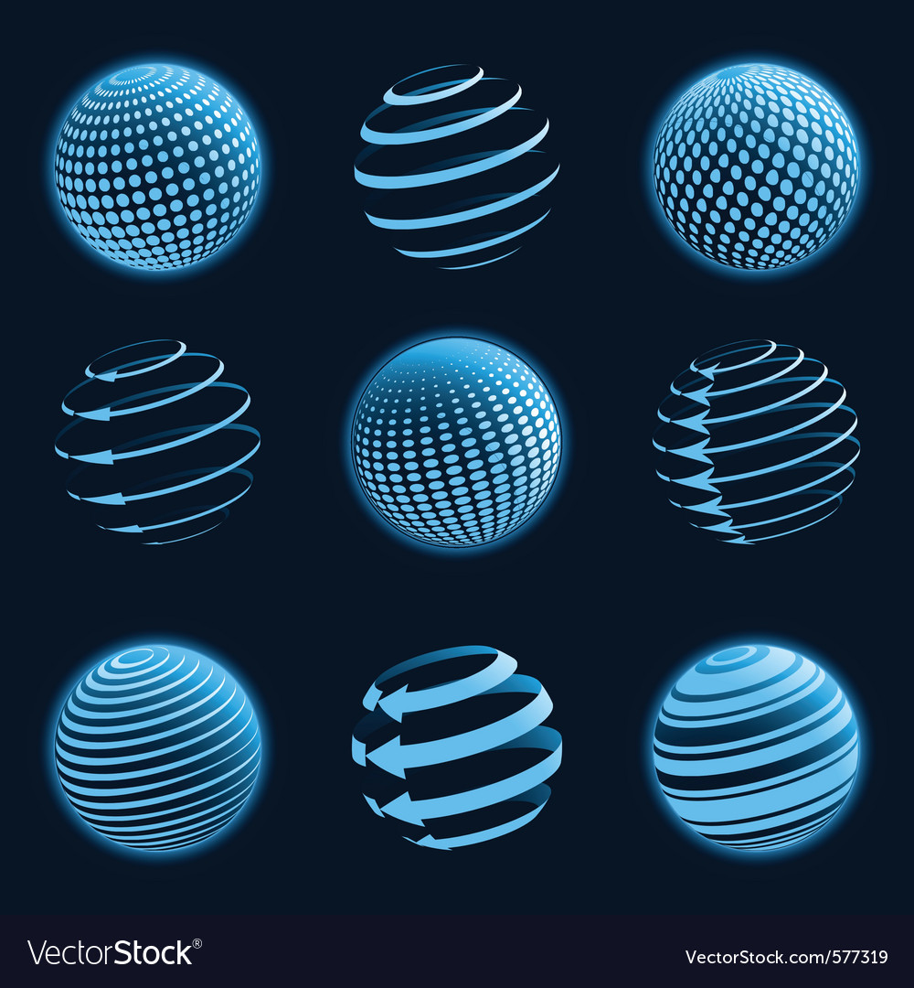 Blue planet icons vector image