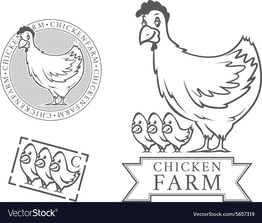 Chicken farm emblems vector image