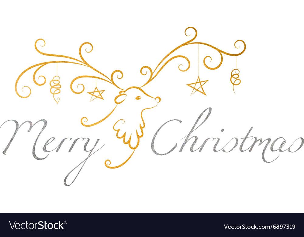 Christmas reindeer with text Merry Christmas
