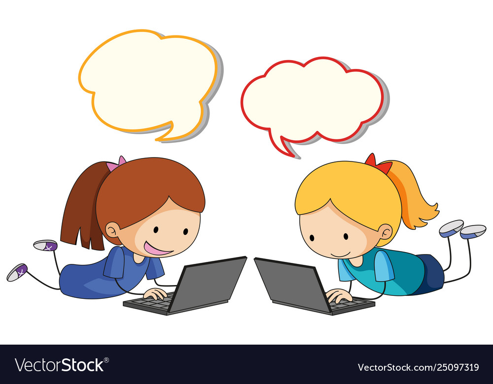 Girl playing computer with speech balloon
