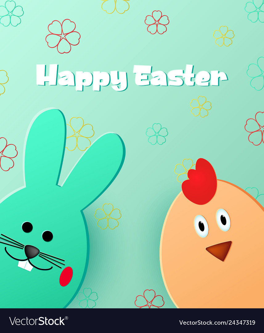 Happy easter easter bunny and chick