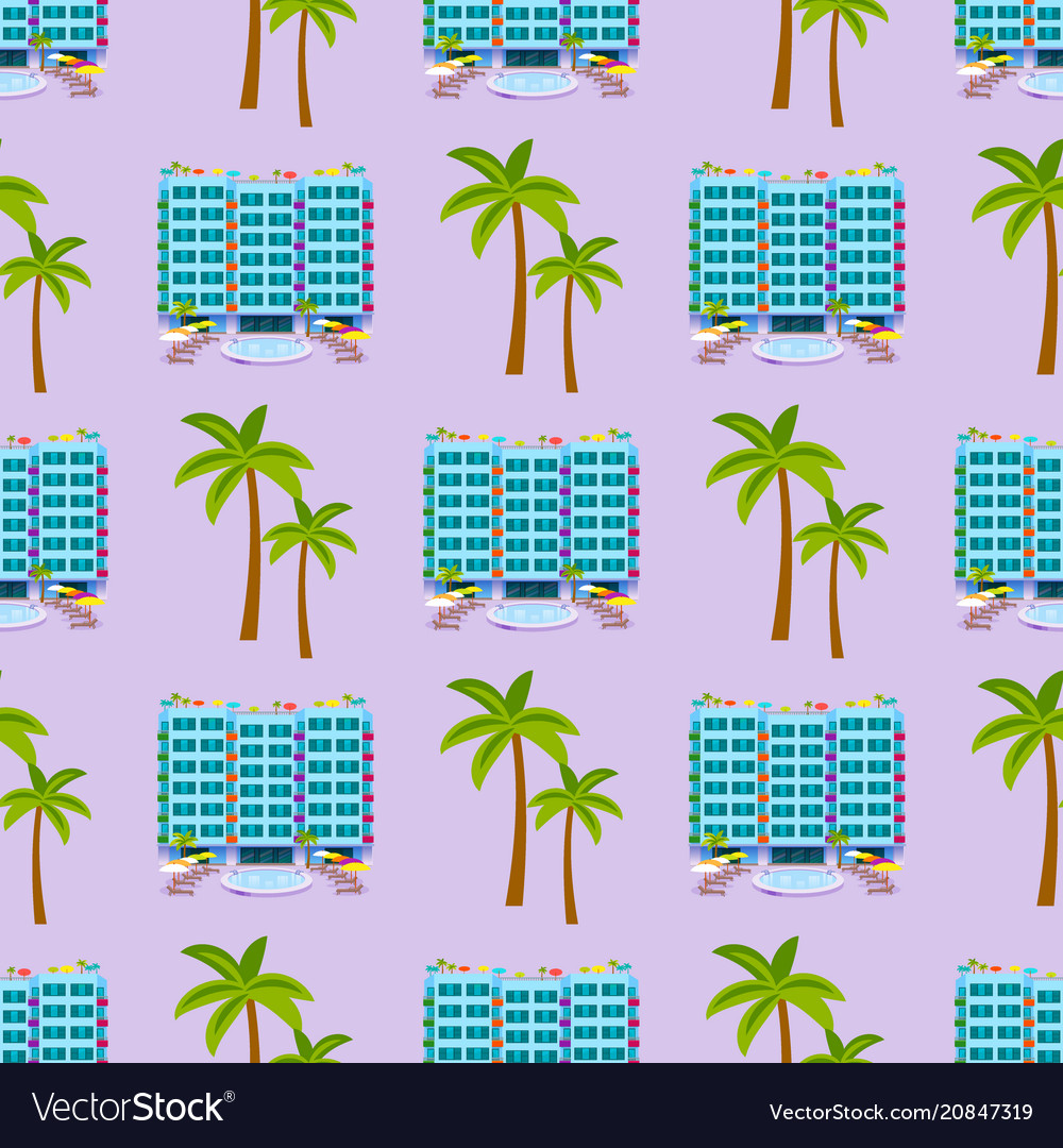 Hotels buildings tourist travelers places vacation vector image