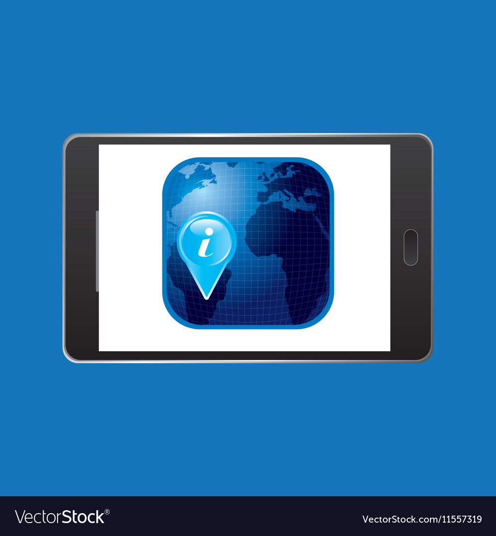 Icon smartphone travel map pin design vector image