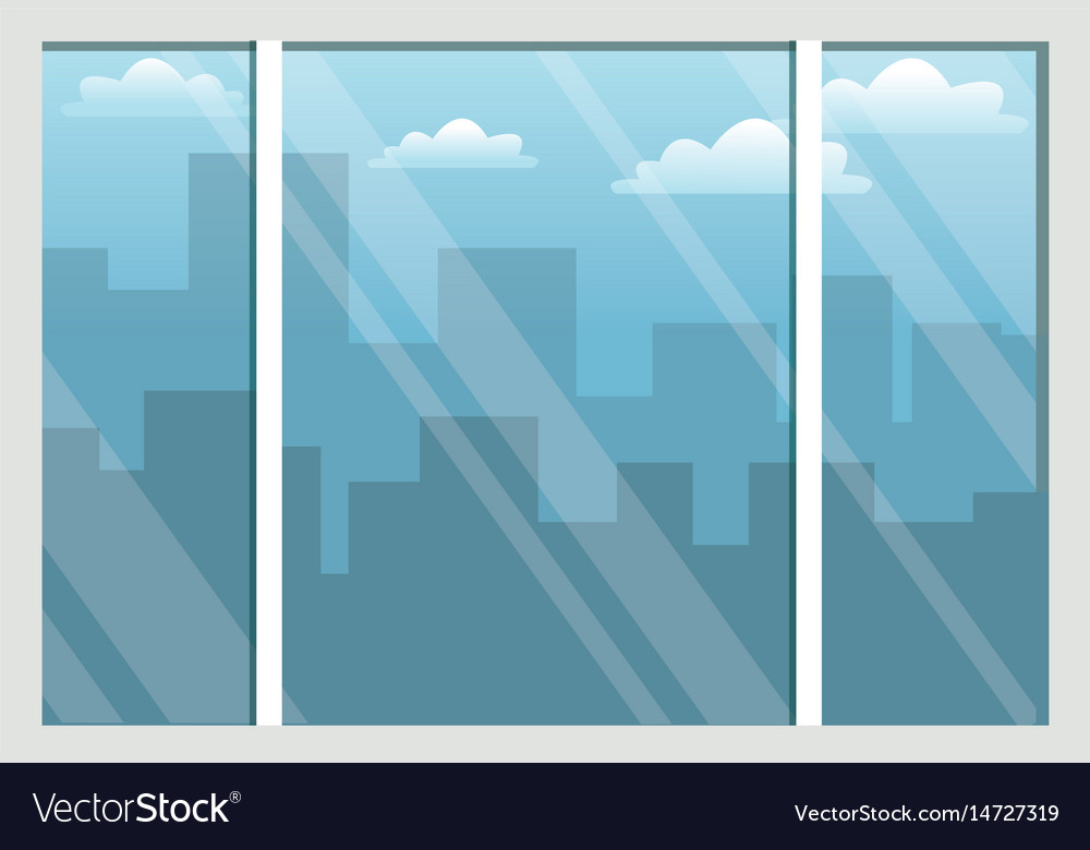 Office interior and building city sky view vector image