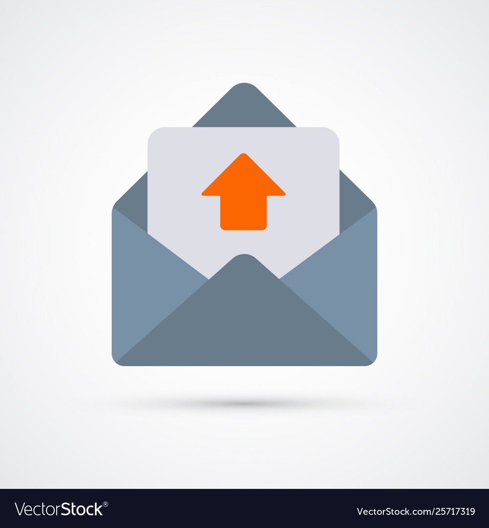 Outbox mail trendy social symbol trendy colored