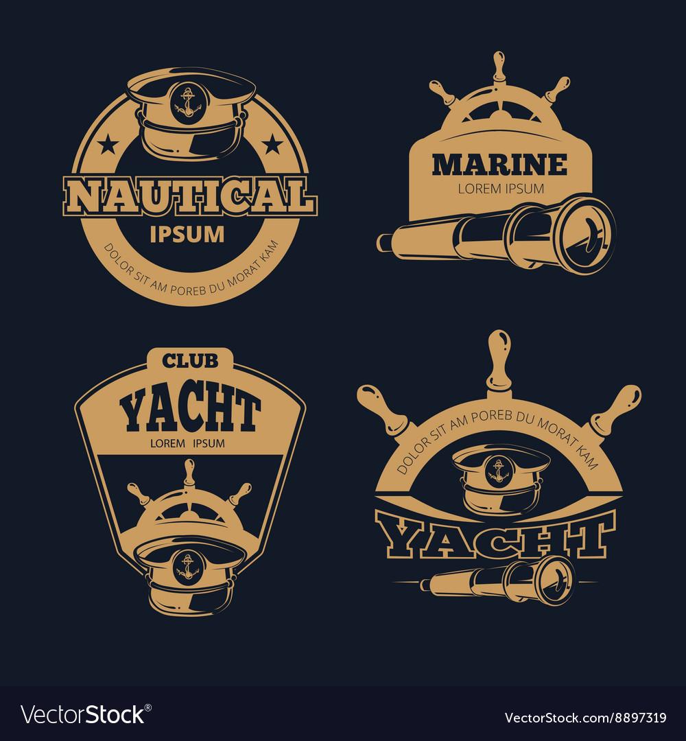 Retro nautical color labels on dark