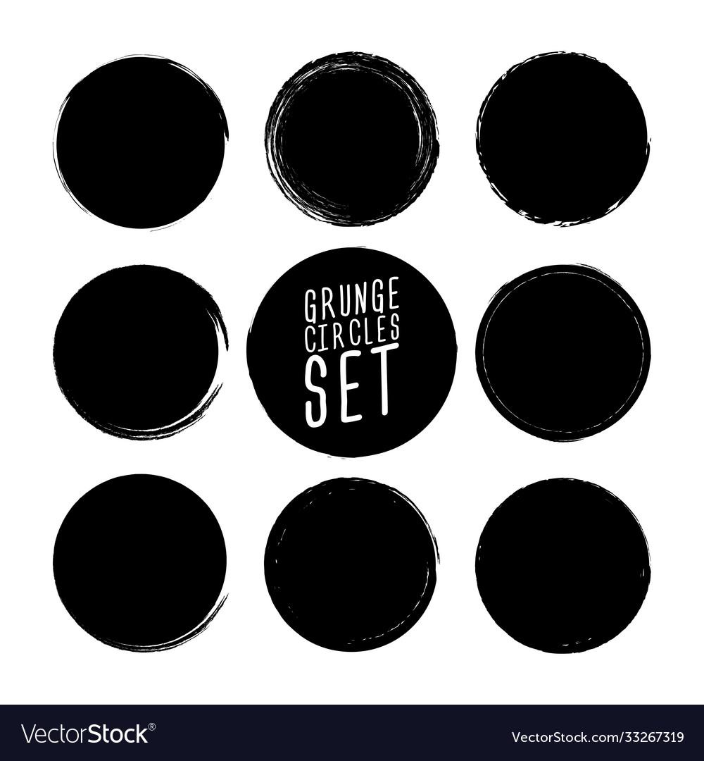 Set grunge circle brush strokes design
