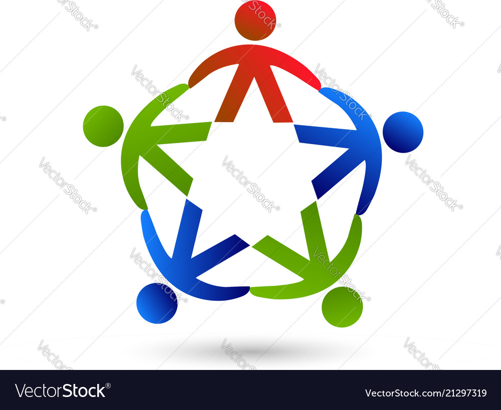 Teamwork group people unity and peace logo