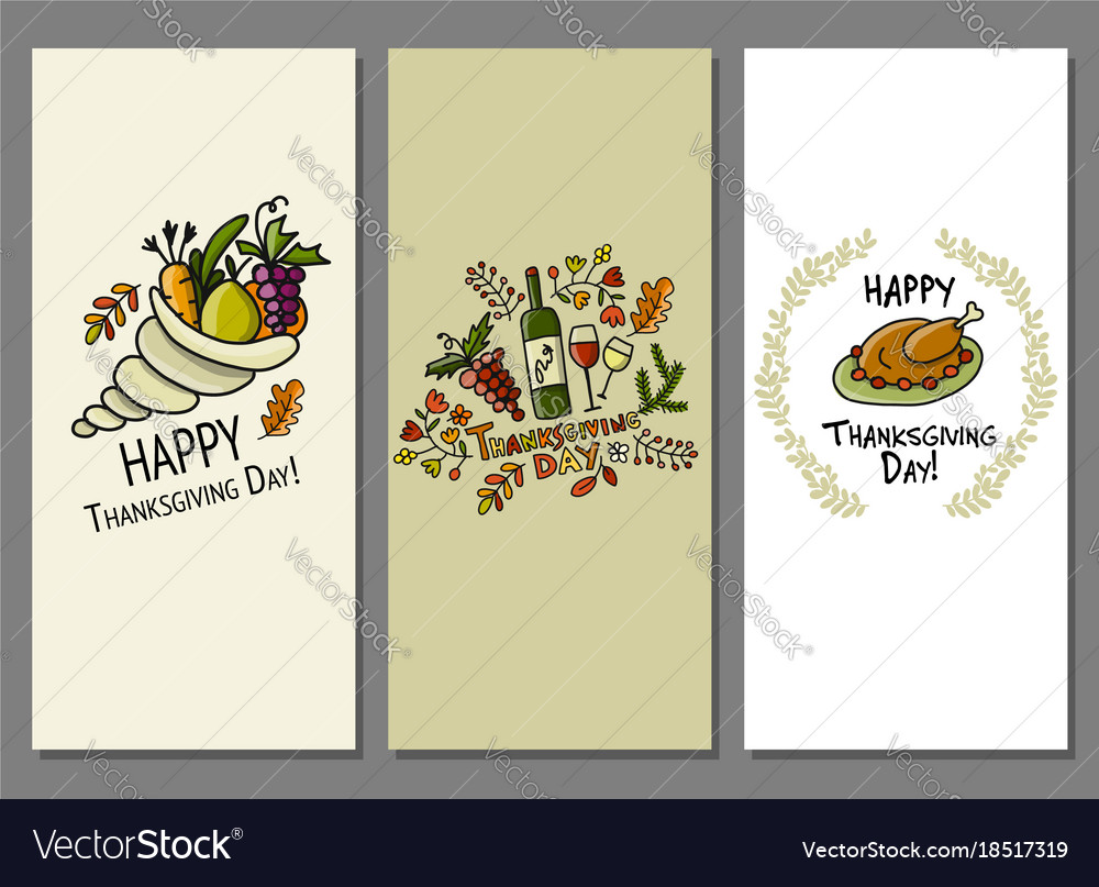 Thanksgiving day art cards for your design