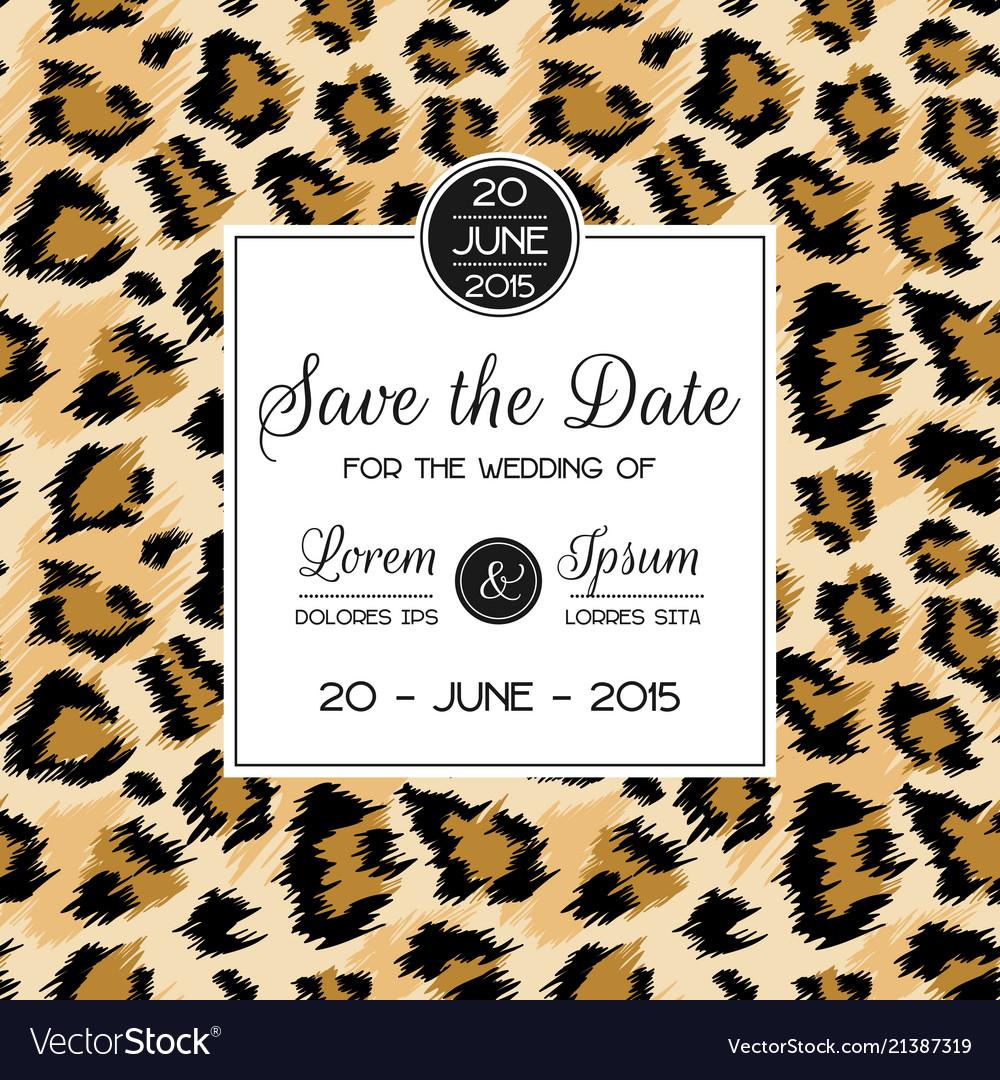 Wedding invitation template fashionable leopard