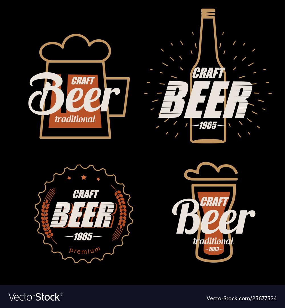 Beer logo template collection set emblems on