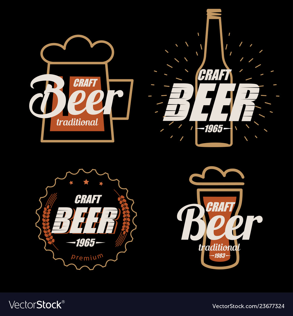 Beer logo template collection set of emblems on