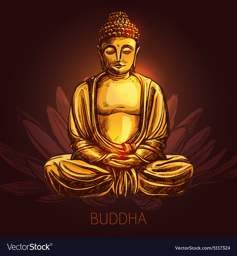 Buddha On Lotus Flower Royalty Free Vector Image