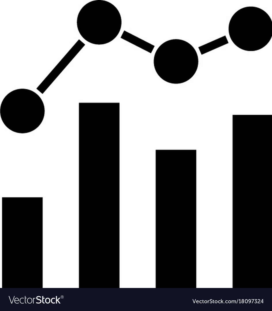 Chart bar graph business icon vector image
