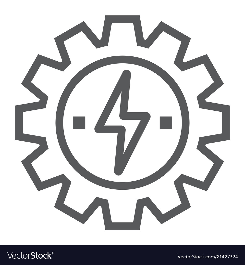 Gear with lightning line icon ecology and energy