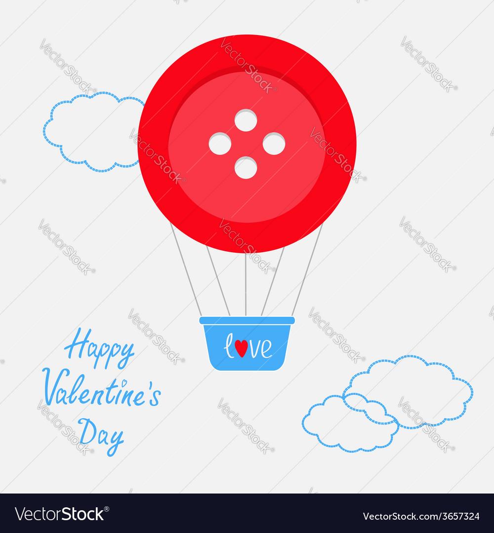 Hot air balloon made of big red button Dash line