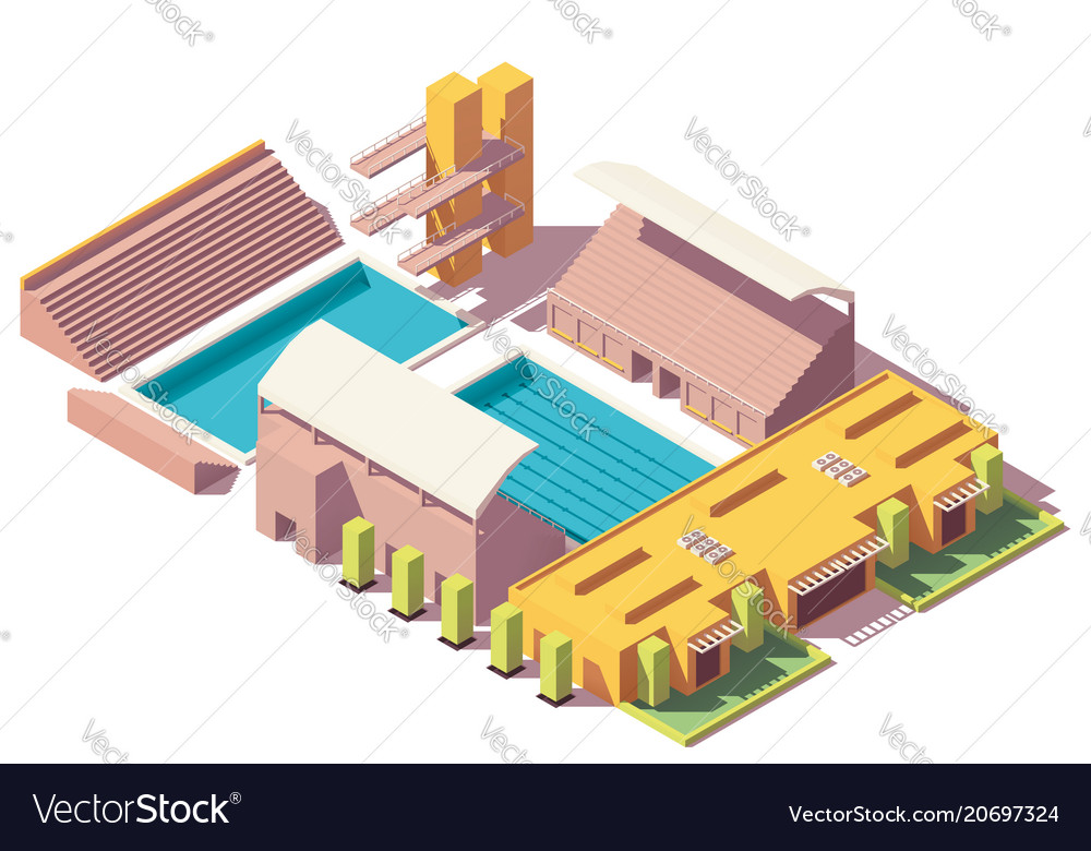 Isometric low poly swimming pool