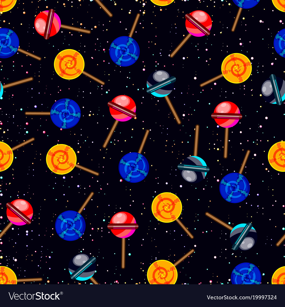 seamless pattern with candy planets in dark vector image